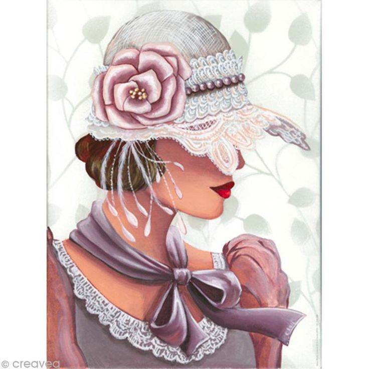 Image 3D Femme - Chapeau dentelle - 30 x 40 cm - Photo n°1