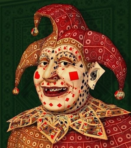 """""""Joker"""" by John Craig: collage portrait made from playing cards #archimbold #arcimboldo #PlayingCards - Carefully selected by GORGONIA www.gorgonia.it"""