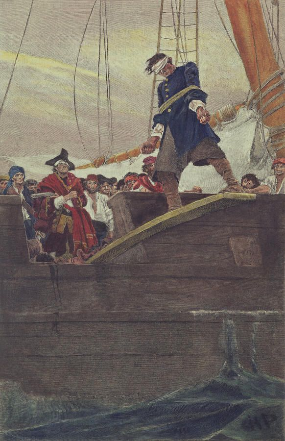 'Walking the Plank' oil painting by Howard Pyle -  Used as an illustration in a magazine in 1887.  A pirate captain makes a blindfolded & bound captive walk the plank.
