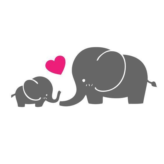 Mamá y bebé elefante / / etiqueta