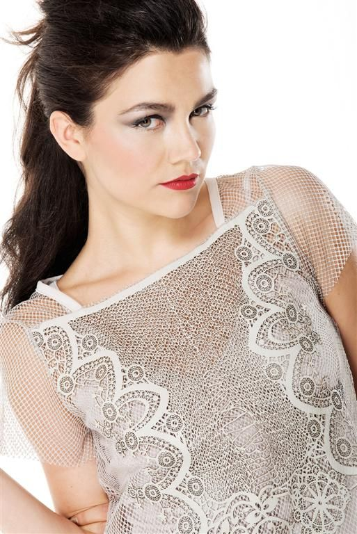 Blouse avory with leather's embriodery