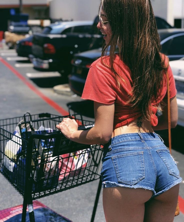 Woman Ass Small Jeans Shorts Isolated Stock Photo