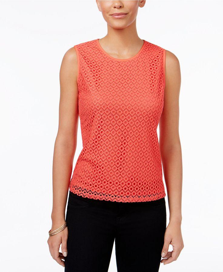 Kasper Petite Crochet-Overlay Shell - Shop All Suits & Suit Separates - Women - Macy's