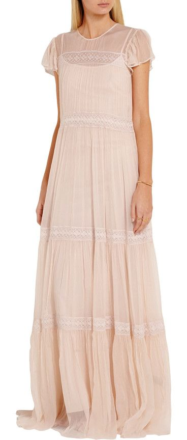 On SALE at 43% OFF! Lace-paneled Crinkled-chiffon Gown by Needle & Thread. Cut for a slightly loose fit . Fitted slip . Lightweight, non -stretchy fabric . Those with curvy hips may wish to ta...