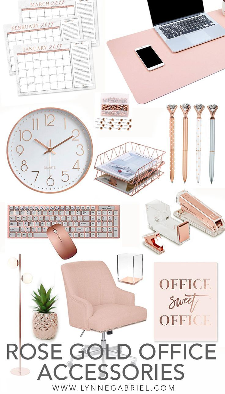 Rose Gold Desk And Office Accessories You Will Absolutely Love Whatever Is Lovely Gold Office Decor Work Office Decor Gold Office