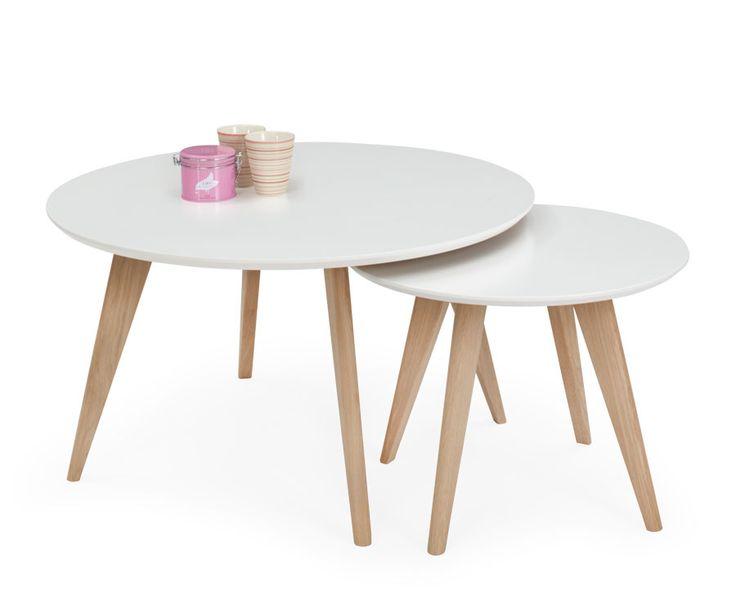 AMAZON Rundt bord Ø: 90 cm H: 50 cm. Hvit/hvitoljet