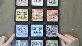 I can't believe that she's done this...Jann Gray takes 16 inks and shows us how they look on paper and also the difference when embossing with clear (which makes it more vibrant)!!! I'm tickled pink!  New Tim Holtz Distress Ink Comparison