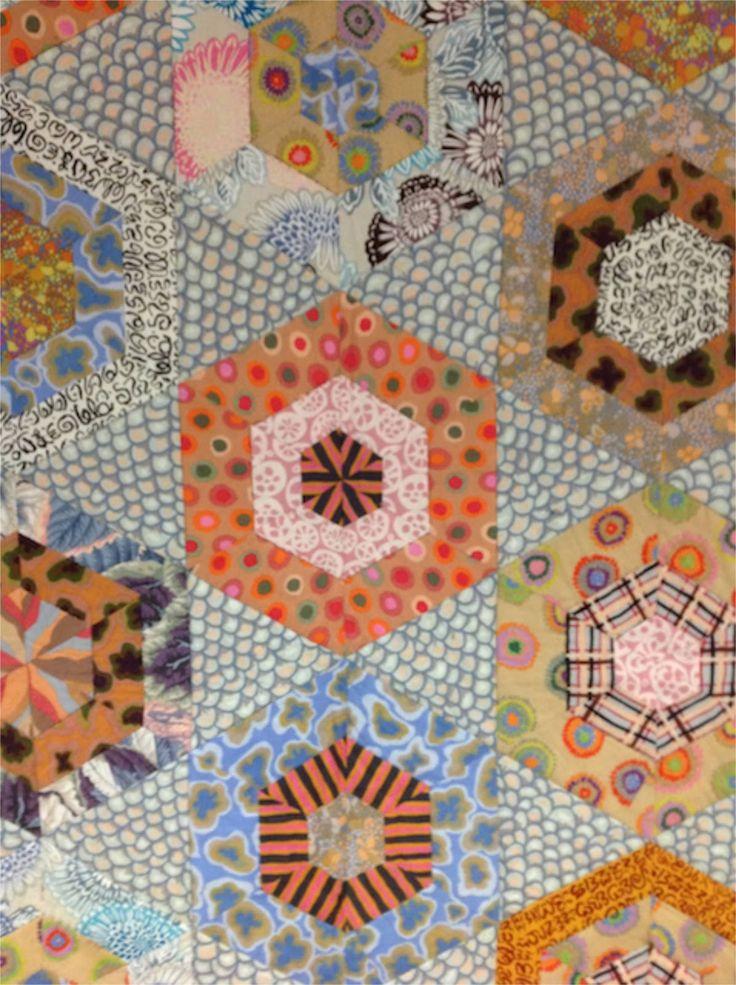 "close up, hexagon quilt by Kaffe Fassett.  Photo by Jilly Harris: Kaffe Fassett Exhibition ""A life in colour'"