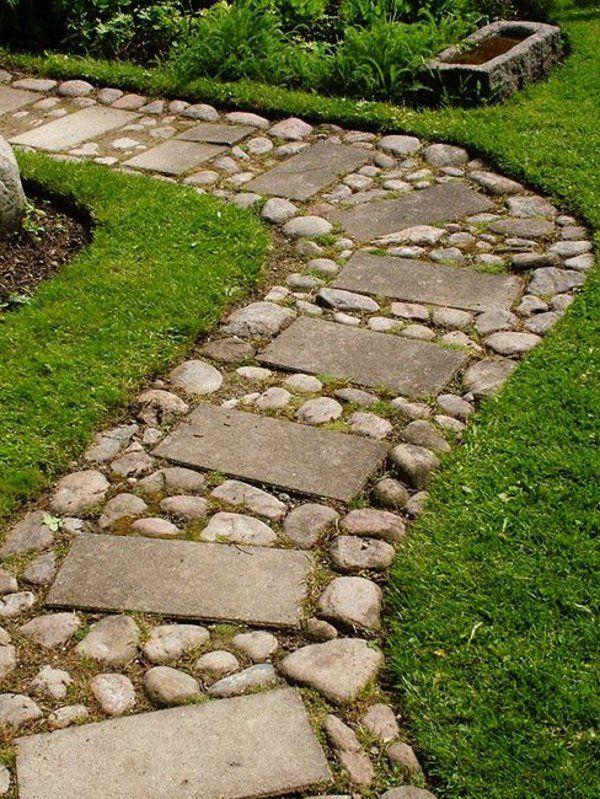 allées de jardin en dalles et pierres
