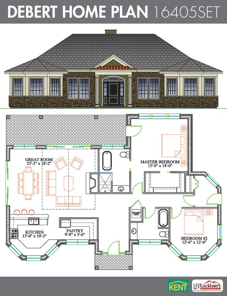 22 best images about ranch home plans on pinterest large for House plans with large kitchens