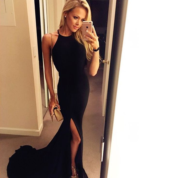 Bg19 Halter Top Long Black Prom Dresses,Mermaid Prom Dress,Long Evening Party Gowns With Slit 2016,Sexy Evening Dress