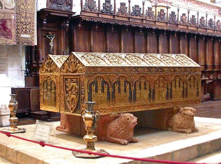 Tombs of Queen Leonora (Eleanor Plantagenet - daughter of Eleanor of Aquitaine) 1160-1214 and King Alfonso VIII 1156-1214. at Santa Marai de Las Helgas, Burgos