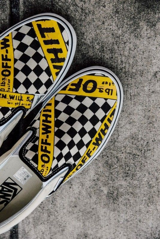 Vans USA.AMAC Customs CheckerBoard Slip-On Classic Yellow Black White  Womens Shoes 8cabad76f