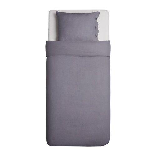 LINBLOMMA Påslakan 1 örngott, grå grå 150x200/50x60 cm