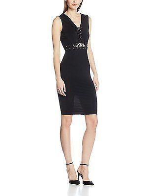14, Black (Black), Jane Norman Women's Lace up Bodycon Dress NEW