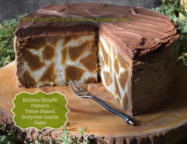 Hidden Giraffe pattern in a twice baked surprise inside cake!
