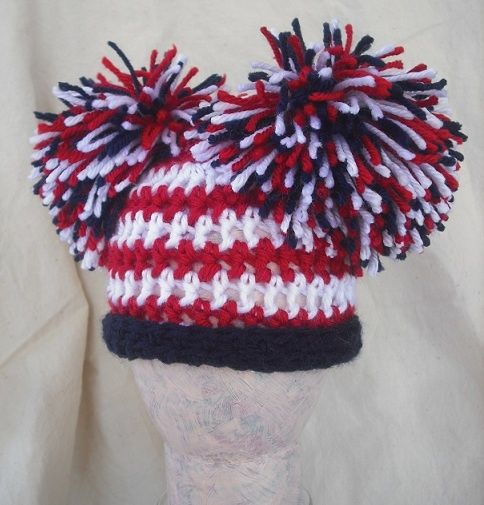 patriotic+pom+pom | Girls Newborn Patriotic pom pom hat, American flag hat.