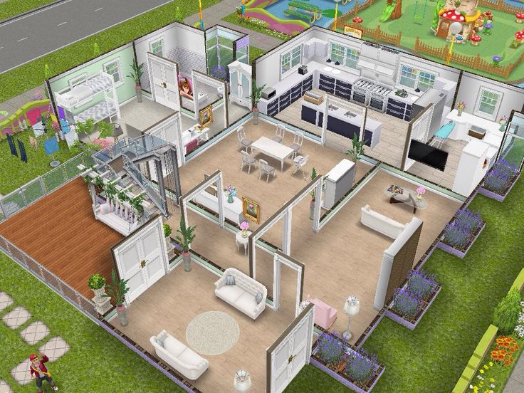 House 110 Pastel Family Home Level 1 #sims #simsfreeplay #simshousedesign