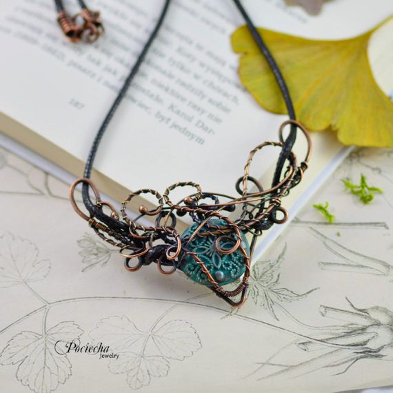 Steampunk WIre Wrapped Necklace by Pociecha Jewelry Bohemian