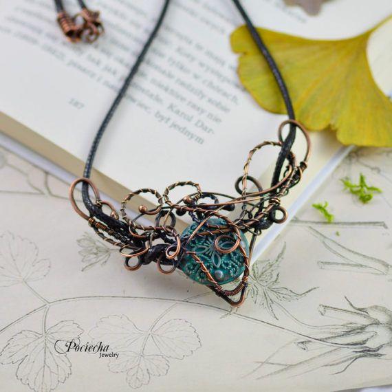 Steampunk WIre Wrapped Necklace by Pociecha Jewelry Bohemian