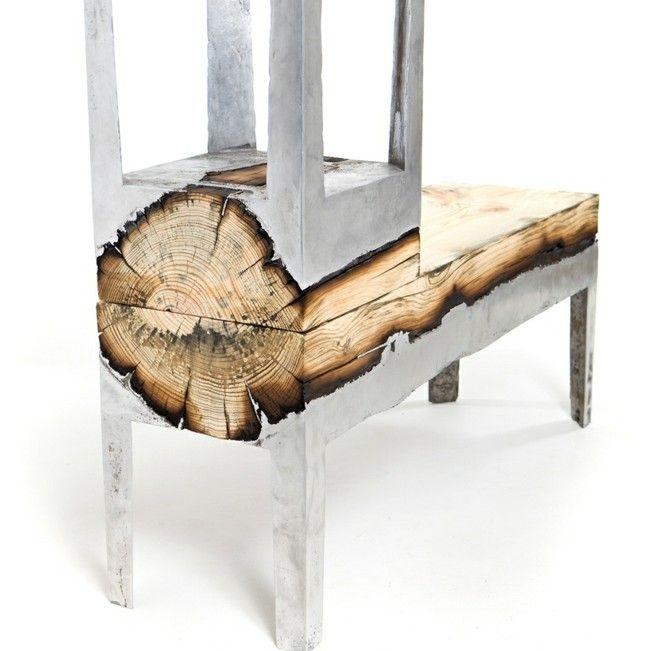 Israel Tisch Stuhl Baumstamm Metall Gestell