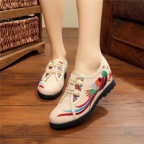 Veowalk Phonix Nirvana Embroidered Women Casual Cotton Cloth Flat Shoes Buckles Vintage Ladies Canvas Platforms Zapatos Mujer