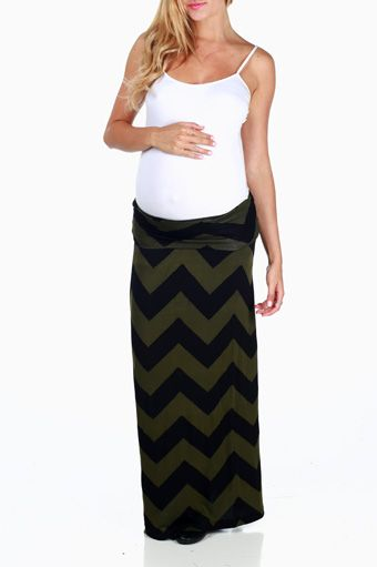 Olive Black Chevron Print Maternity Maxi Skirt