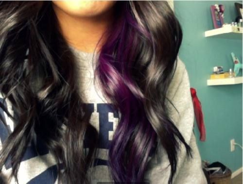 purple... but i like pink: Hair Ideas, Purple Streaks, Purple Hair, Hairstyles, Hair Styles, Haircolor, Makeup, Purple Highlight, Hair Color