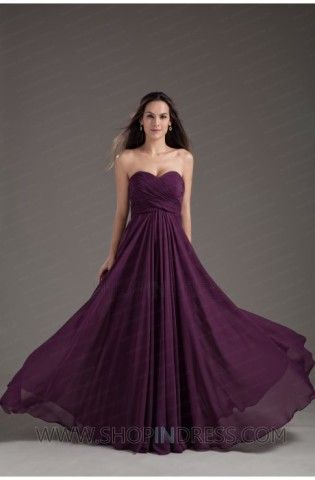 Sweetheart Floor Length chiffon Purple Prom Dress
