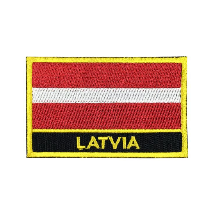 Latvia Flag Patch Embroidered Patch Gold Border Iron On patch Sew on Patch Bag Patch meet you on Fleckenworld.com