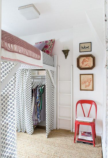 A Raised Bed Frame: For unexpected clothing storage, raise your bed! Then, use the space below as a closet. Complete the look with curtains that add color yet keep your wardrobe out of site.  Source: Domino Magazine