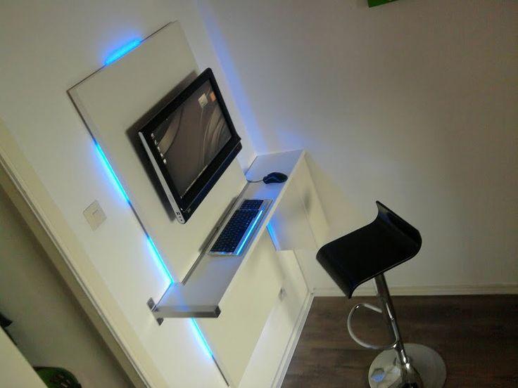 Minimalist Bedroom With Sleek Workstation Built Wall
