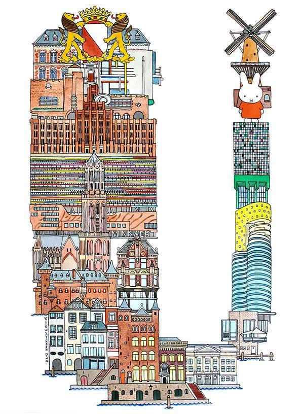 Utrecht - ABC illustration series of European cities by Japanese illustrator Hugo Yoshikawa