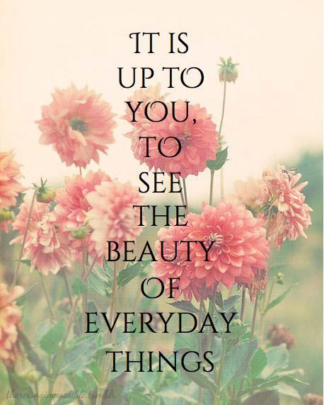 """""""It's up to you to see the beauty of everyday things""""."""