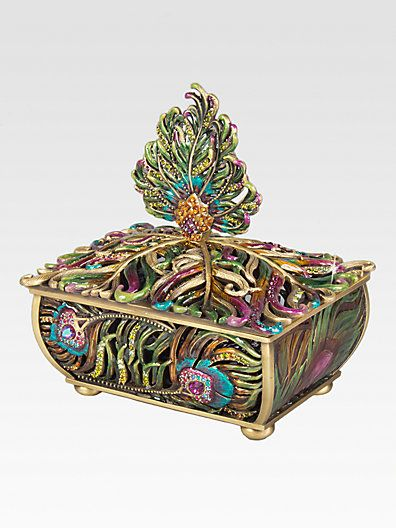 Jay Strongwater Peacock Feather Box...