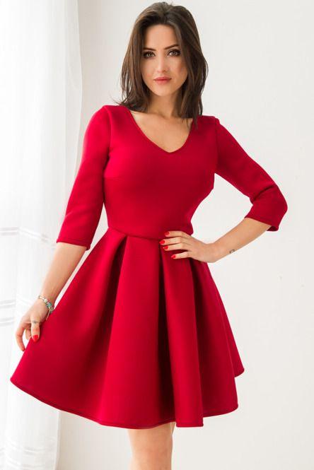 Rozkloszowana sukienka z pianki - bordowa