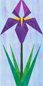 """A wealth of free paper piecing patterns!  Quilters' delight """"Piece by Number""""  Paper Pieced Iris Blosson and Leaves Quilt Block"""