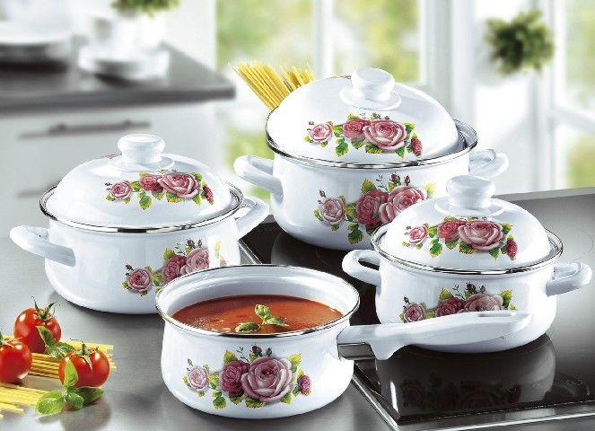 Emaille-Kochtopf-Set-mit-Deckel-Topf-Suppentopf-Stielkasserolle-Kochen-Kueche