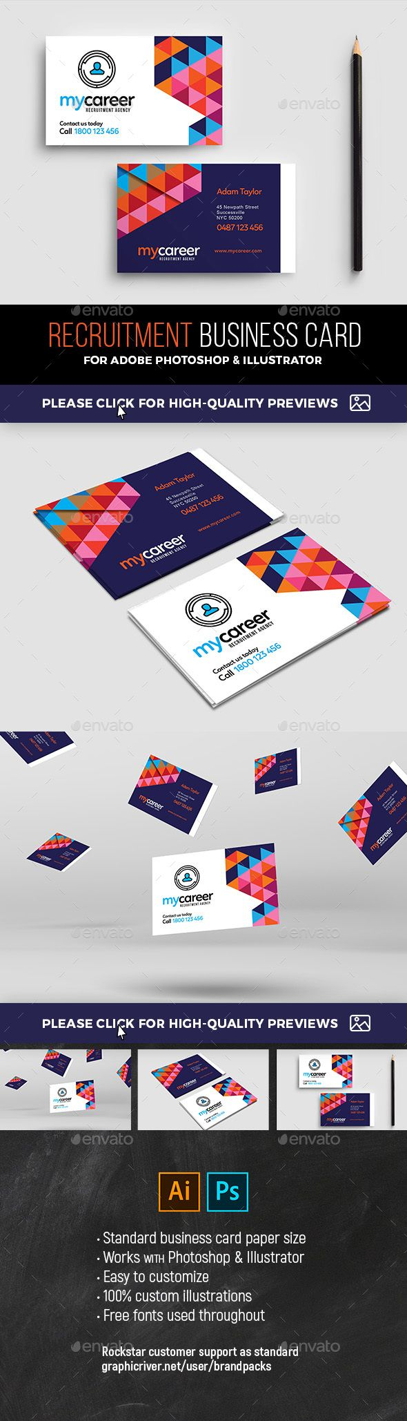 Recruitment Agency Business Card Template Agency Business Cards Illustration Business Cards Business Card Template