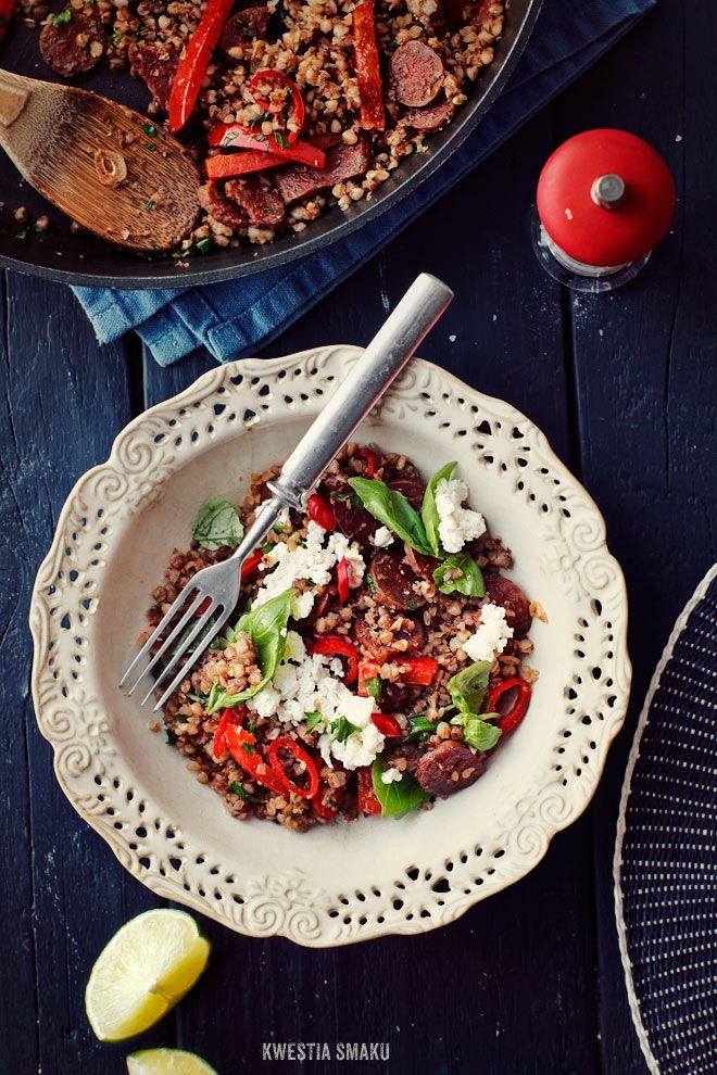 Stir-fried buckwheat with chorizo and cottage cheese