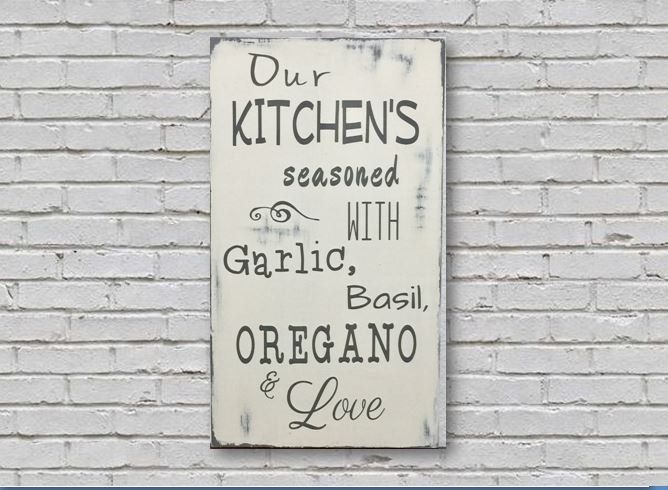 Kitchen Seasoned With Love   Distressed Wood Sign    Rustic Signs & Home Decor   Kitchen Sign   Italian Kitchen Sign by WoodOnWalls on Etsy