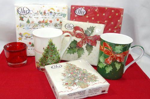 Porzellan-Tasse-034-Lovely-Christmas-Tree-0-375l-Weihnachten-Stern-Becher-Bone-China