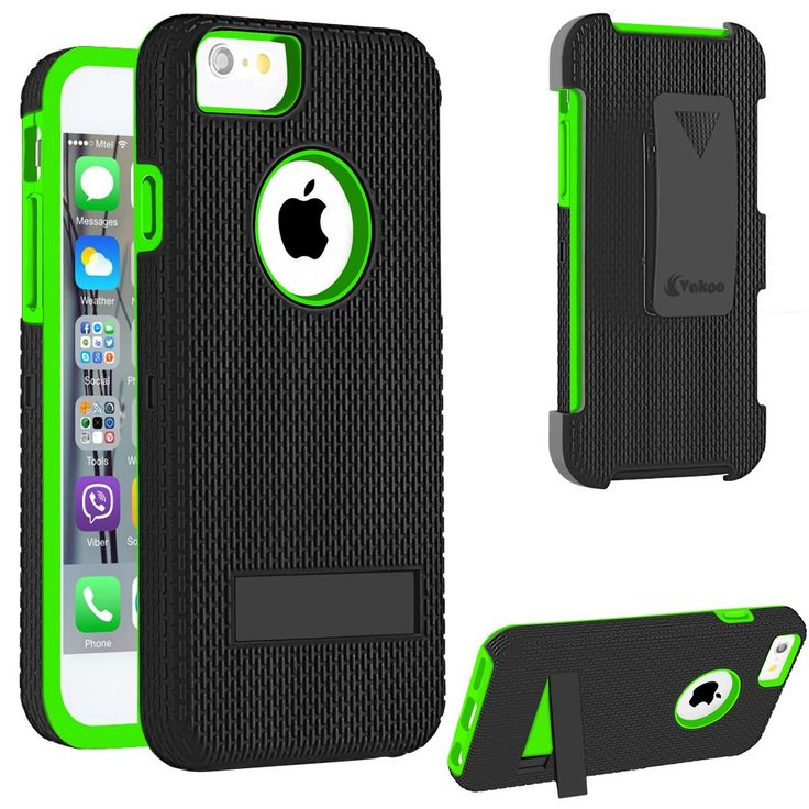 iPhone 6 Case, iPhone 6S Case,Vakoo Holster Combo Shockproof Heavy Duty Protection Silicone Rubber Case for Apple iPhone 6/6S with Kickstand and Swivel Belt Clip - Robot Green. Robot Combo Heavy Duty Protection Holster Case for Apple iPhone 6 and iPhone 6S. Perfect Combo Design with Soft silicone inner sleeve & Impact-resistant matte plastic hard shell. Built-in foldable kickstand for hands free watching movies, pictures and more. 360-degree rotating belt clip swivel allowing for multiple...
