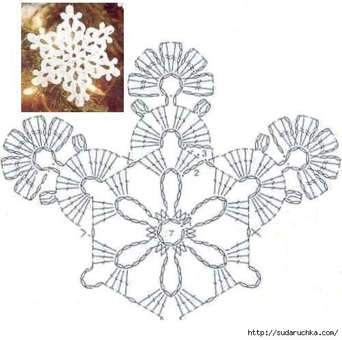 Snowflakes - Crochet. Schéma .. Discussion sur LiveInternet - service russe journal en ligne
