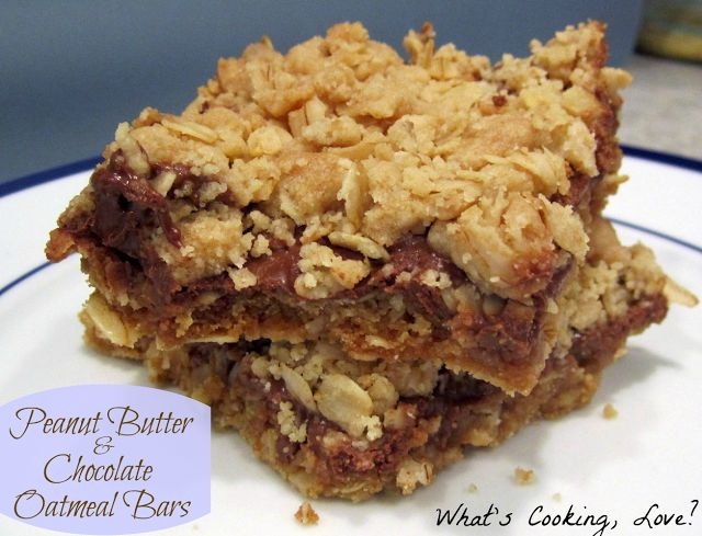 Peanut Butter and Chocolate Oatmeal Bars.  A delicious combination of oats, chocolate, and peanut butter.  #oatmeal #chocolate #peanutbutter