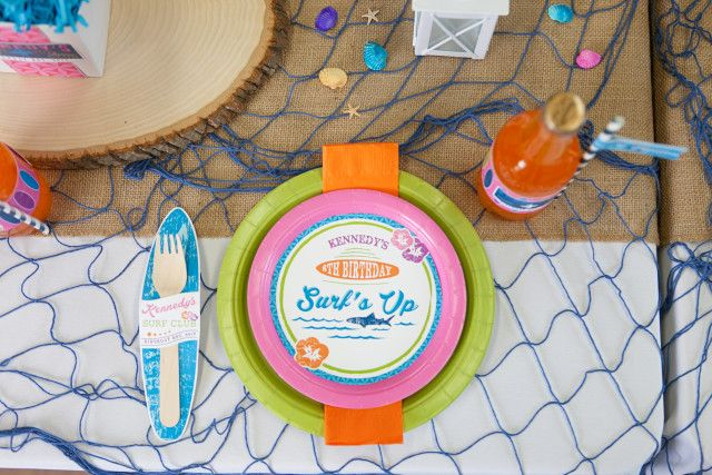 Anders Ruff Custom Designs, LLC: A Girly Surfing Birthday Party Plate Label Printables Surf Club Surfer Girl Sharks