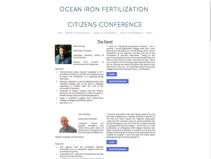 Ocean Iron Fertilization, SciencesPo 2014. Actors interviews with context and transcripts http://oifcontroversy.weebly.com/the-panel-of-experts.html