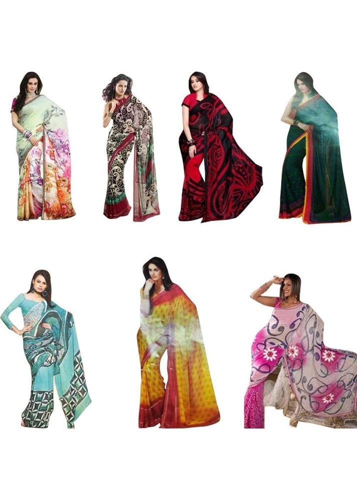 61% Off on Maha Bachat Combo Of 7 Printed Sarees