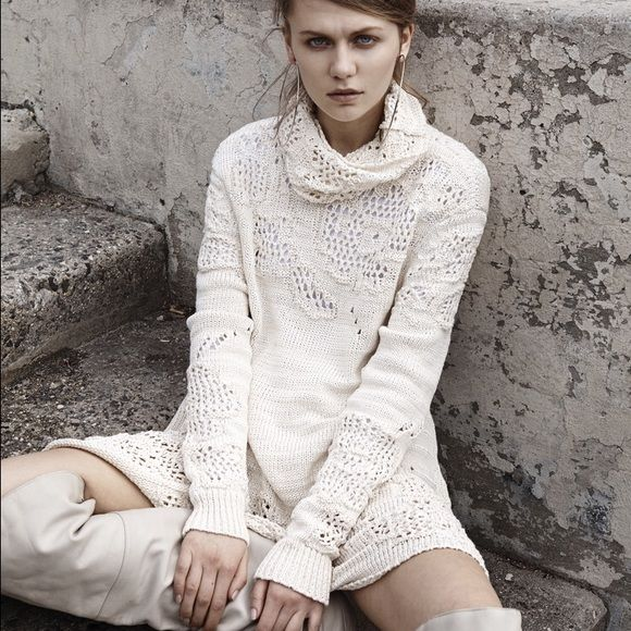 SALE HPALI ROSE 'Marietta' Oversize Sweater WWW.ALIROSE.COM  The Marietta sweater is a fully fashioned knit made of fancy Italian cotton and viscose tape yarn of subtle contrasting white and cream. It has an abstract engineered lace motif throughout, a slouchy turtleneck and open back. This is a transitional and seasonless piece that can be worn perfectly layered with pants or leggings for the colder months, and transitions into a dress for warmer seasons or climates.  71% Cotton, 29%…