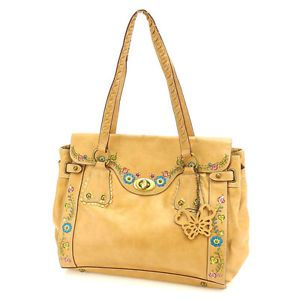 Anna Sui Tote Bag Shoulder Bag Ladies Butterfly Charm with Flower Motif Beige | eBay
